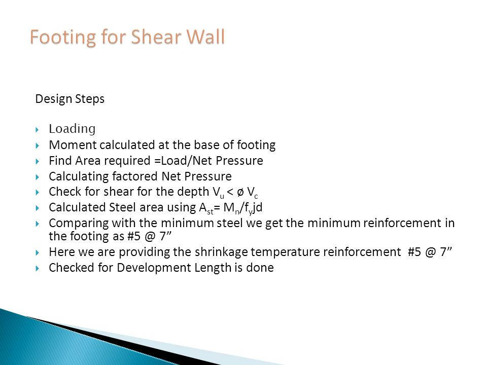 Footing for Shear Wall Design Steps