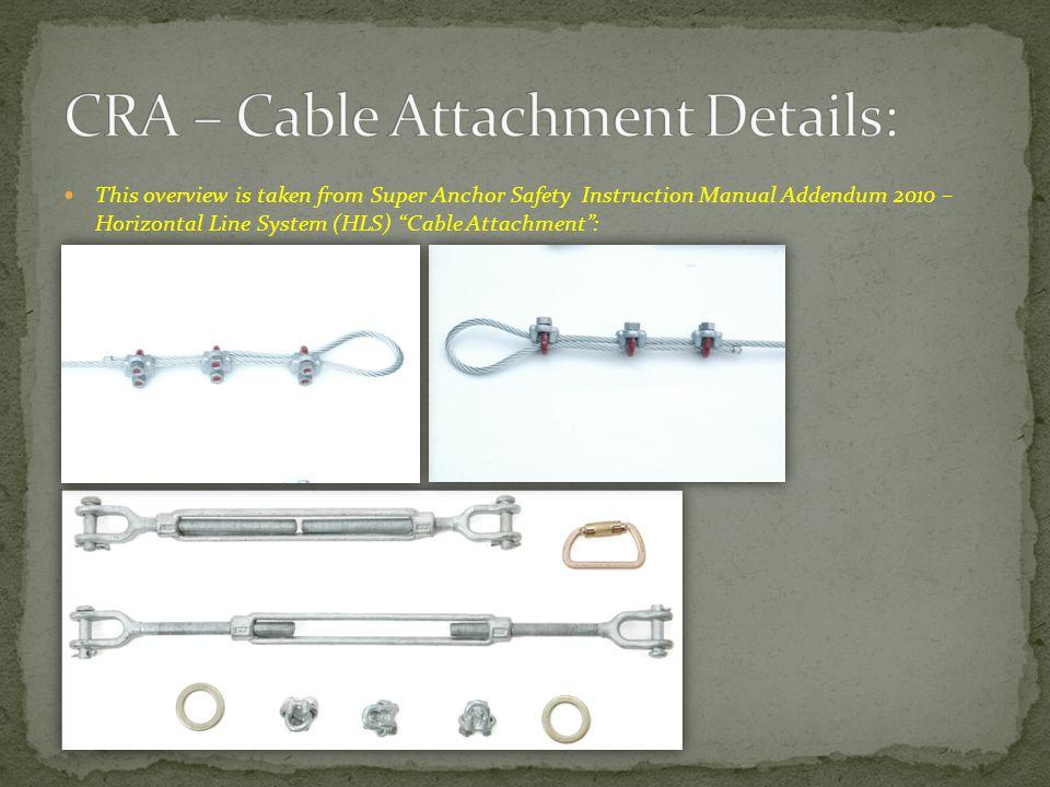 CRA – Cable Attachment Details: