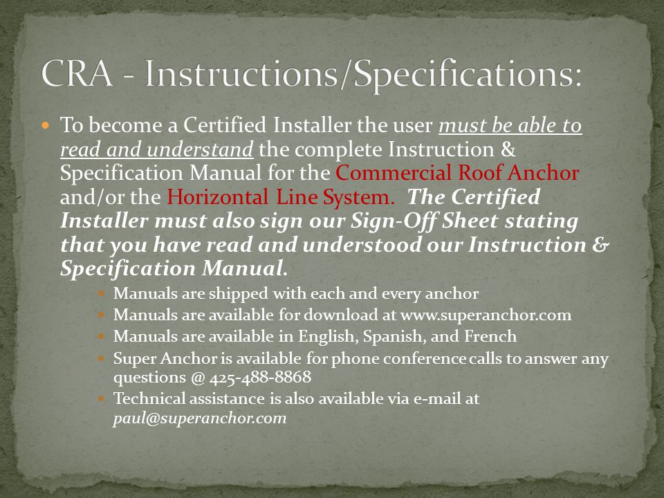CRA - Instructions/Specifications: