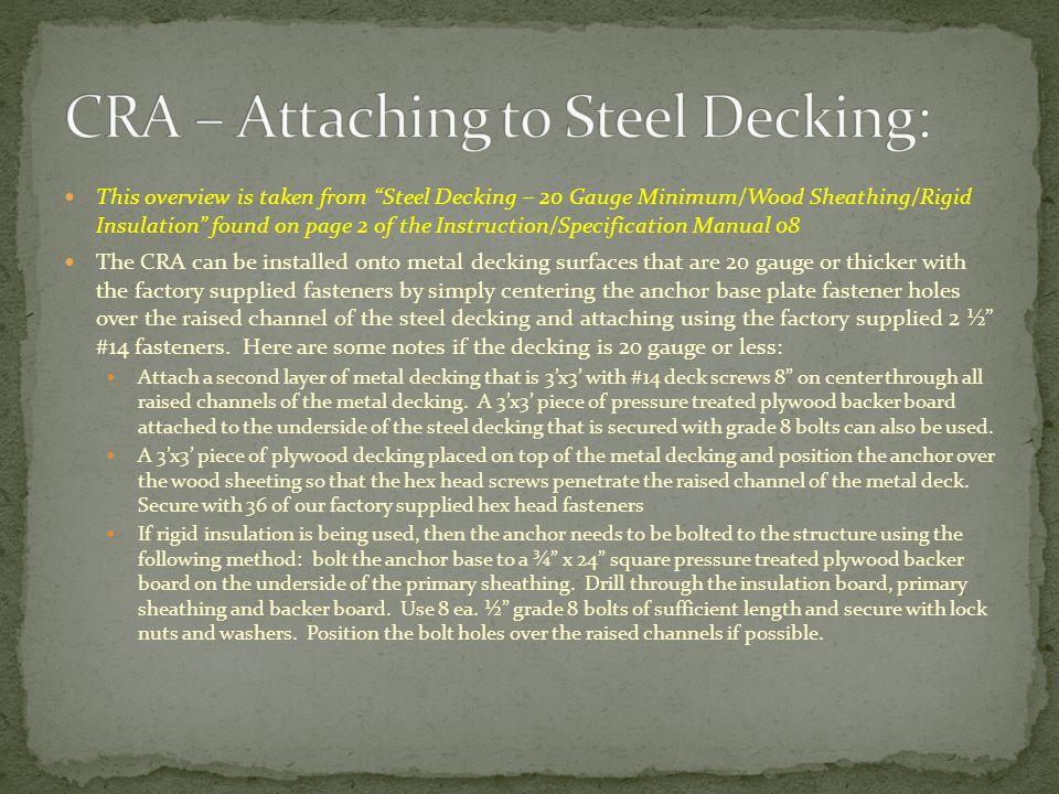 CRA – Attaching to Steel Decking: