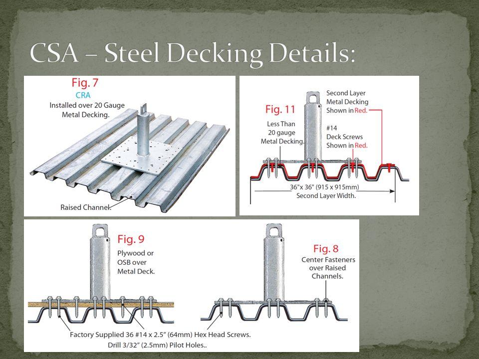CSA – Steel Decking Details: