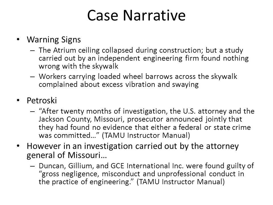 Case Narrative Warning Signs Petroski