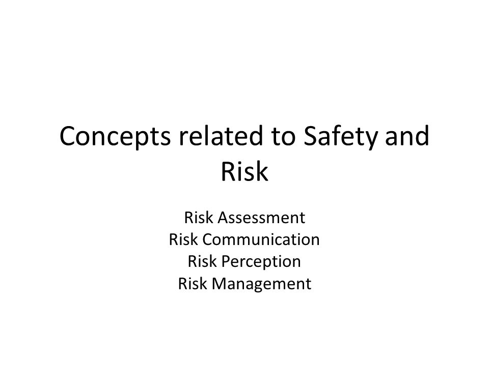 Concepts related to Safety and Risk