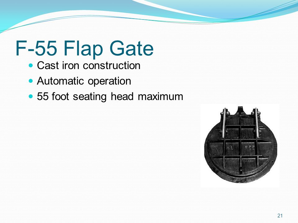 F-55 Flap Gate Cast iron construction Automatic operation