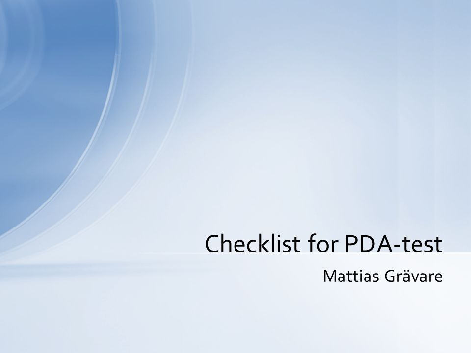 Checklist for PDA-test