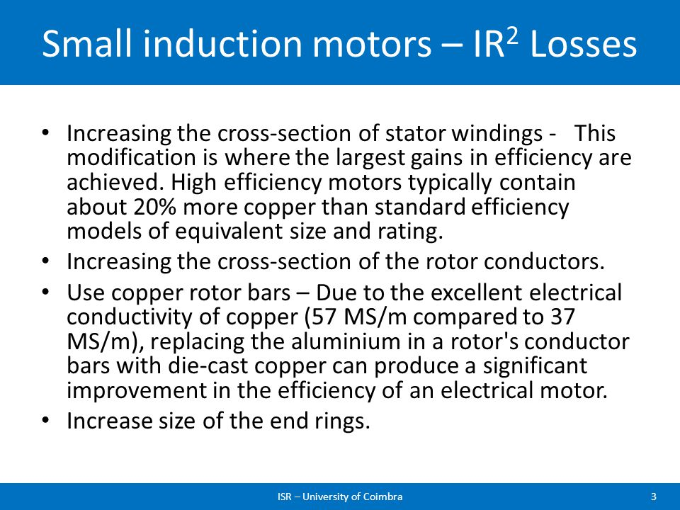 Small induction motors – IR2 Losses