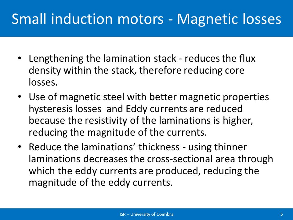 Small induction motors - Magnetic losses