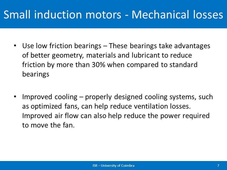 Small induction motors - Mechanical losses
