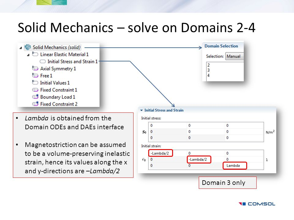Solid Mechanics – solve on Domains 2-4