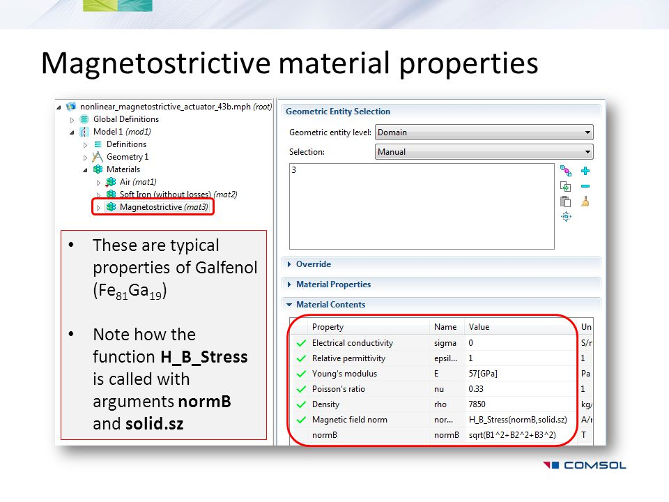 Magnetostrictive material properties
