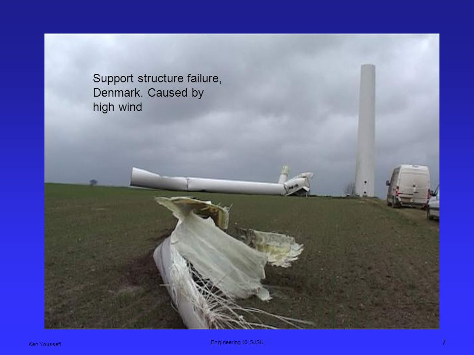 Support structure failure, Denmark. Caused by high wind