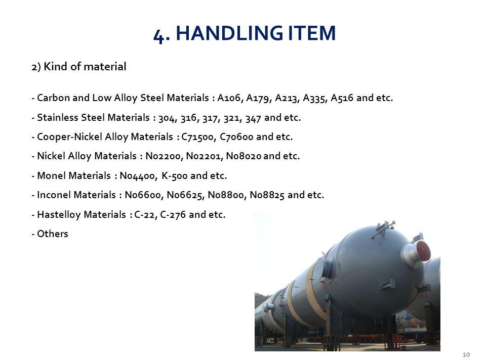 4. HANDLING ITEM 2) Kind of material