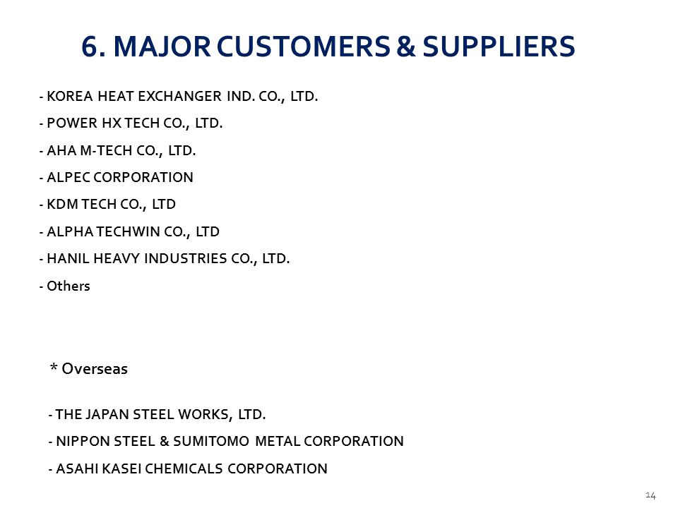 6. MAJOR CUSTOMERS & SUPPLIERS
