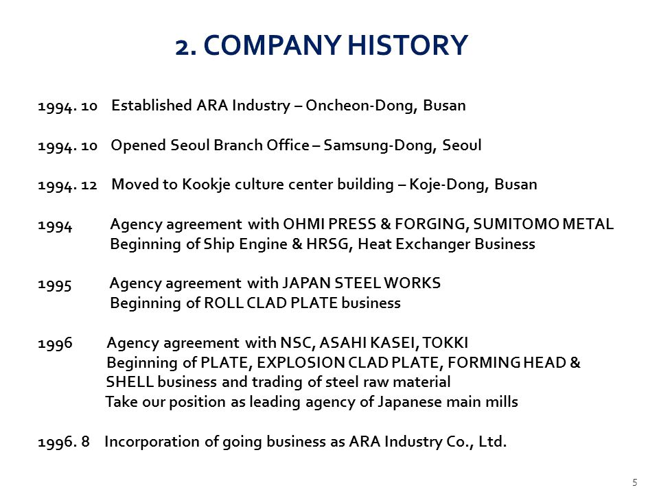 2. COMPANY HISTORY 1994. 10 Established ARA Industry – Oncheon-Dong, Busan. 1994. 10 Opened Seoul Branch Office – Samsung-Dong, Seoul.