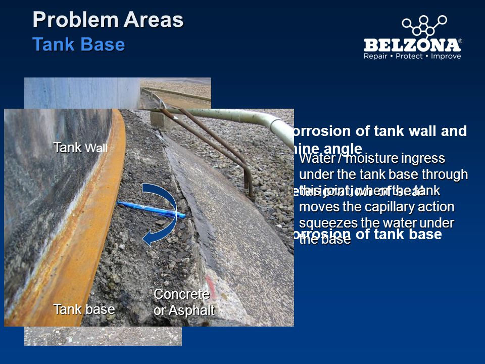 Problem Areas Tank Base Corrosion of tank wall and chine angle