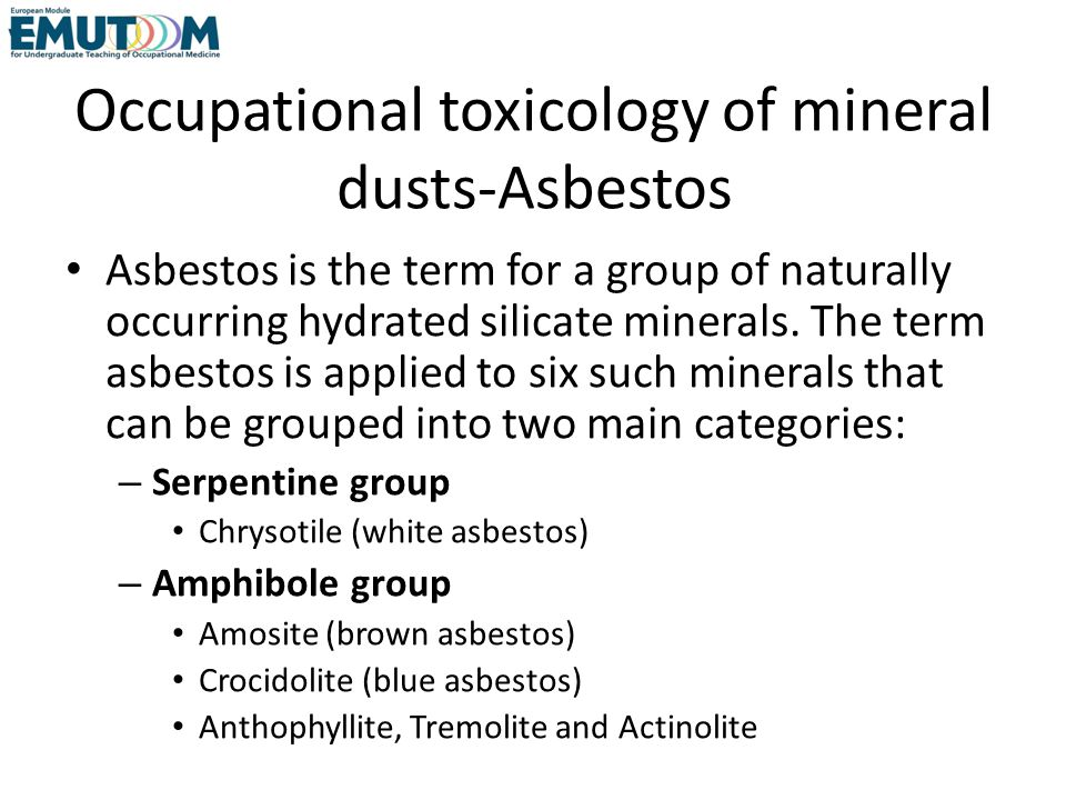 Occupational toxicology of mineral dusts-Asbestos