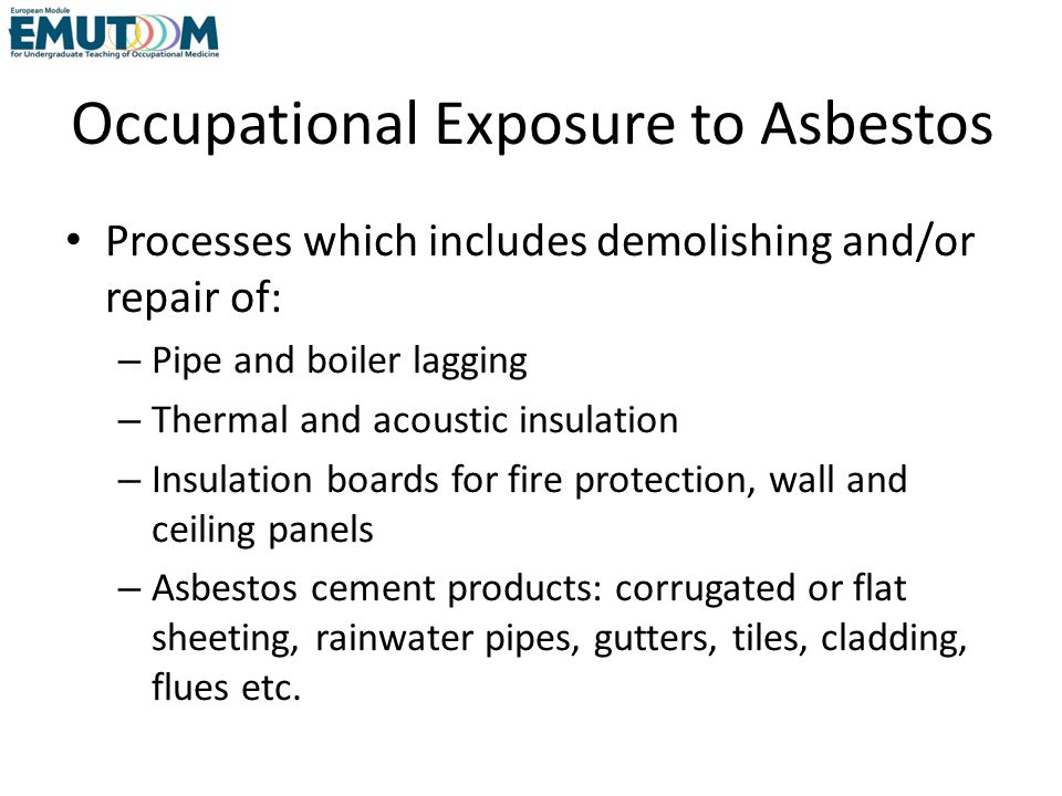 Occupational Exposure to Asbestos