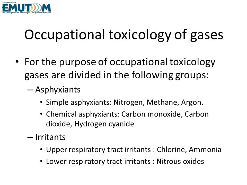 Occupational toxicology of gases