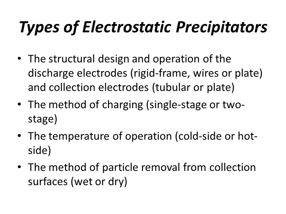 Types of Electrostatic Precipitators