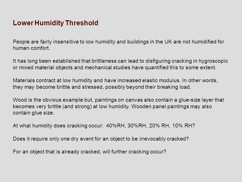Lower Humidity Threshold