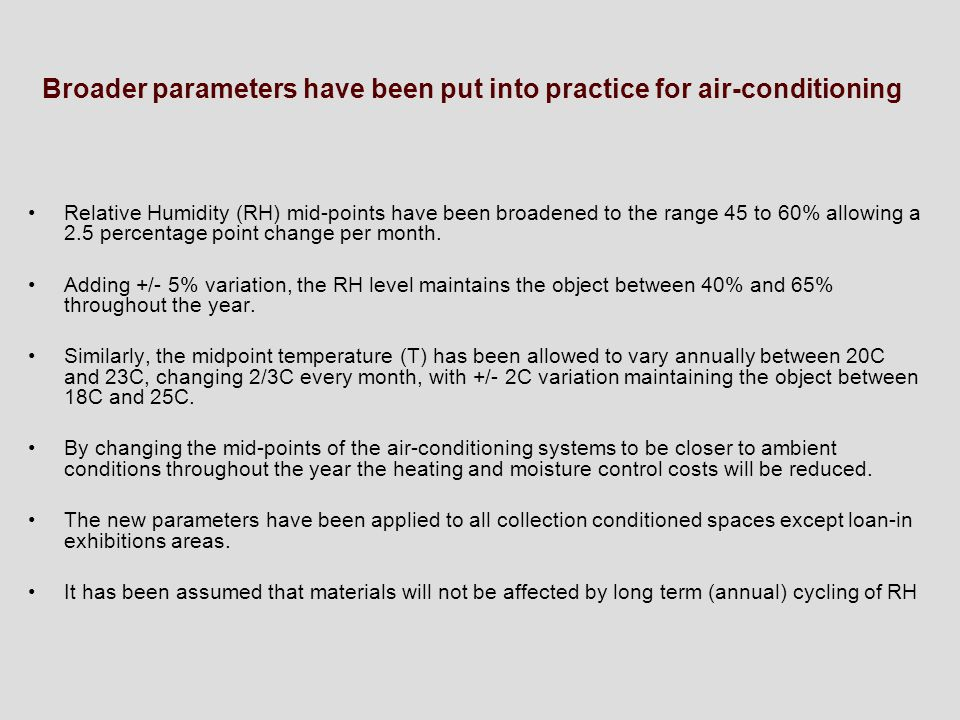 Broader parameters have been put into practice for air-conditioning