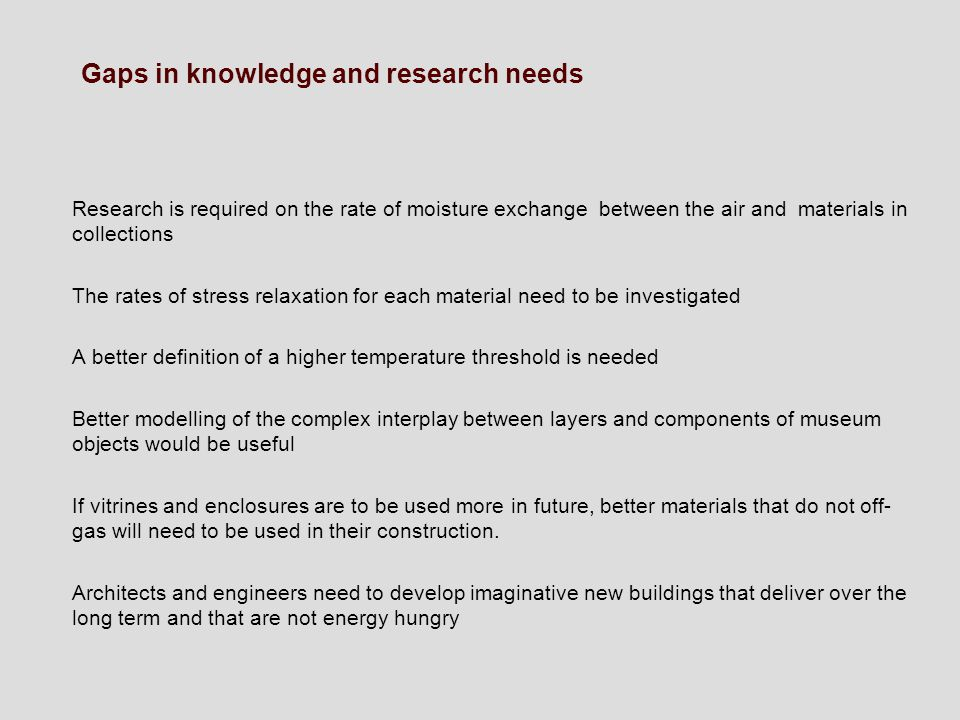Gaps in knowledge and research needs
