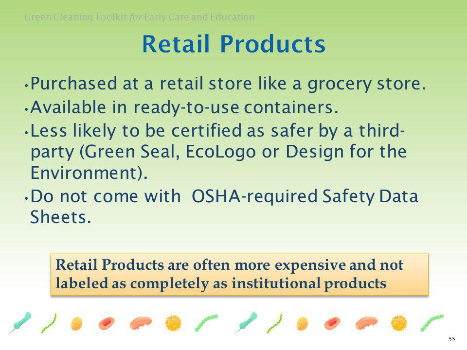 Retail Products Purchased at a retail store like a grocery store.