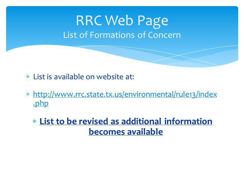 RRC Web Page List of Formations of Concern