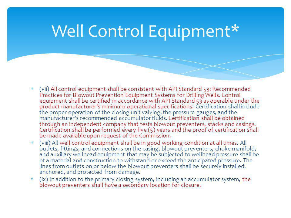 Well Control Equipment*