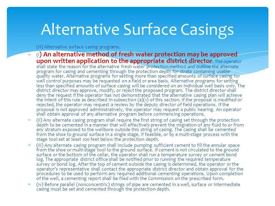 Alternative Surface Casings