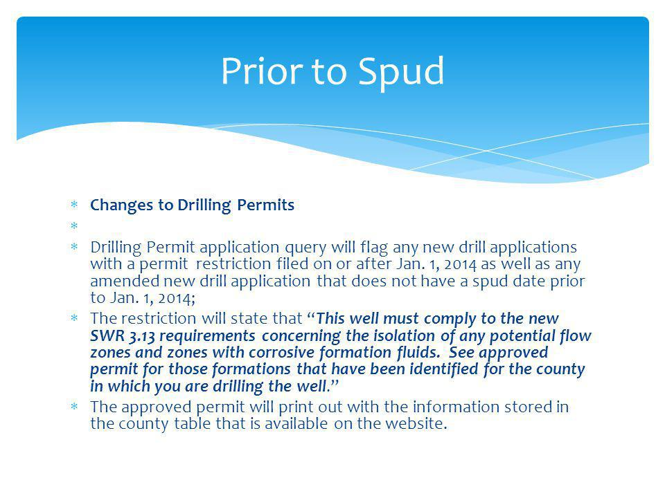 Prior to Spud Changes to Drilling Permits
