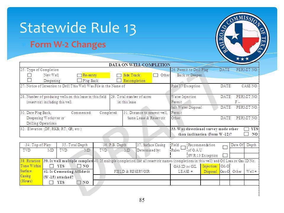 Statewide Rule 13 Form W-2 Changes