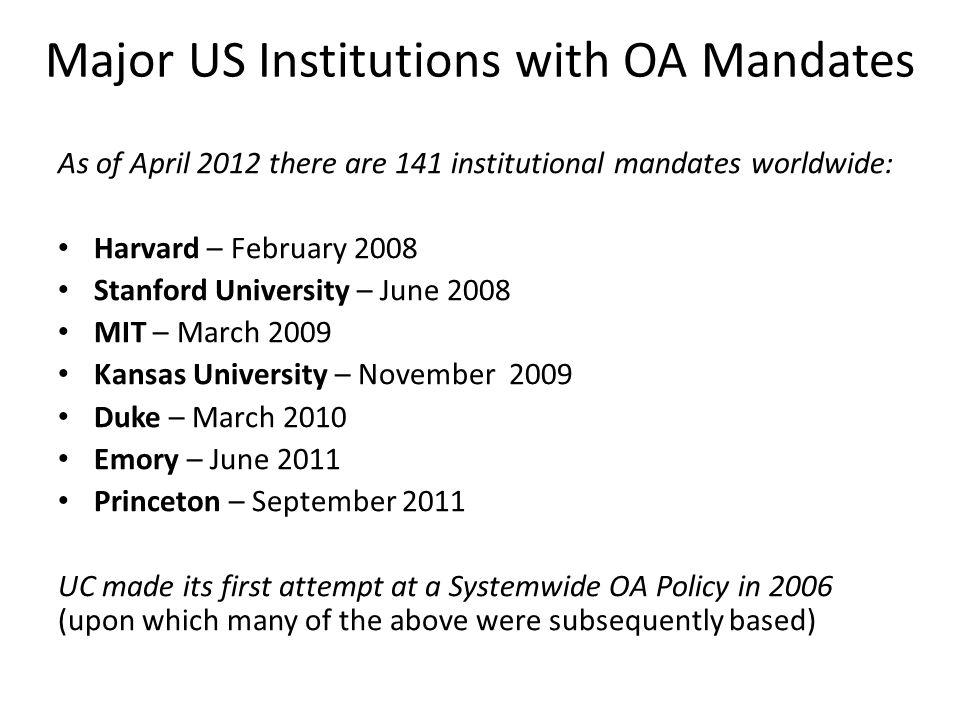 Major US Institutions with OA Mandates