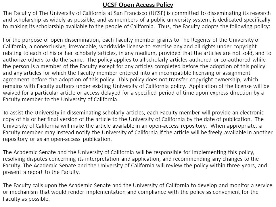 UCSF Open Access Policy