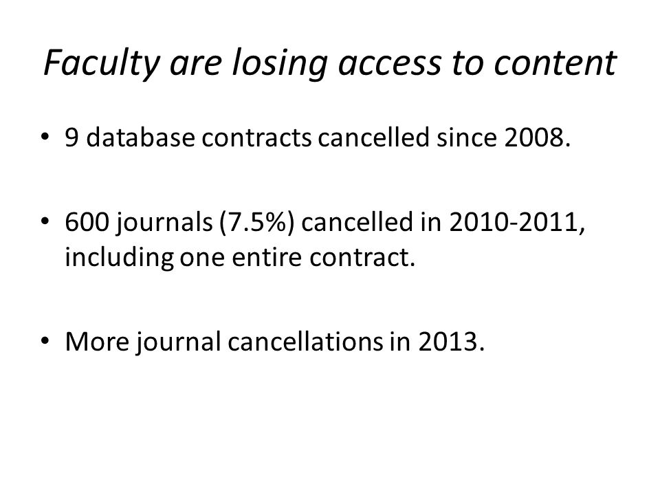 Faculty are losing access to content