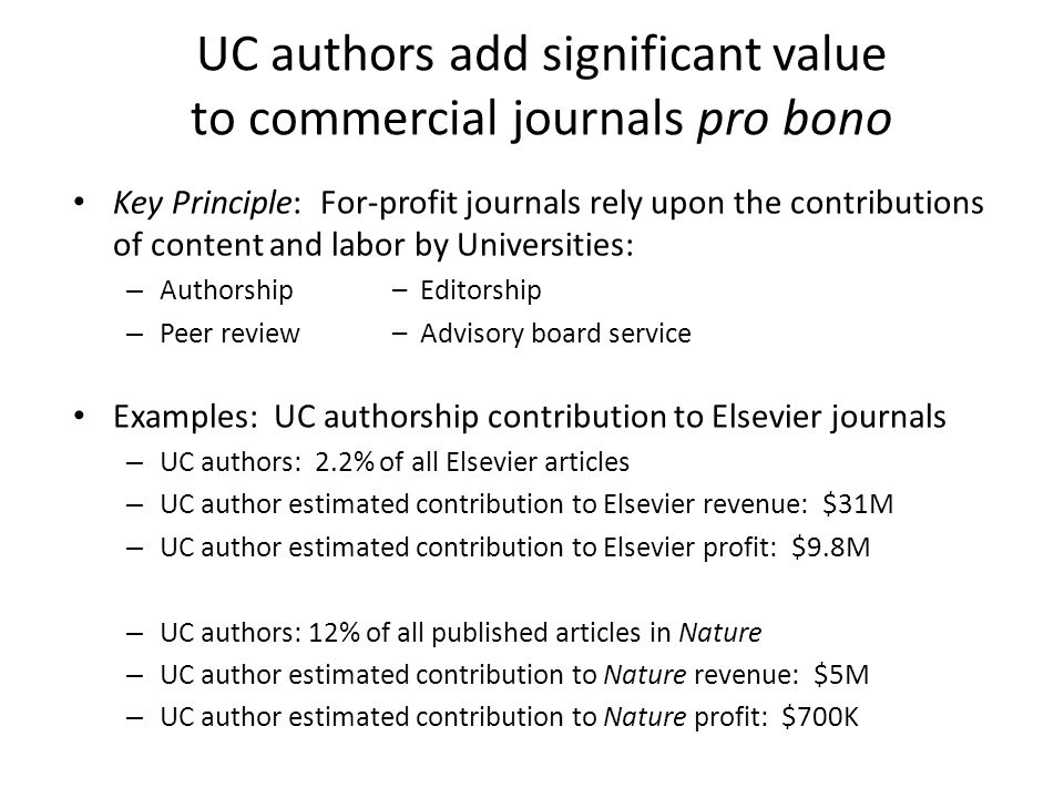 UC authors add significant value to commercial journals pro bono
