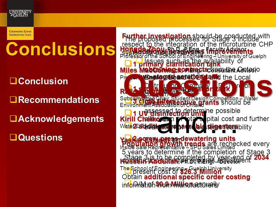 Questions and… Conclusions Conclusion Recommendations Acknowledgements