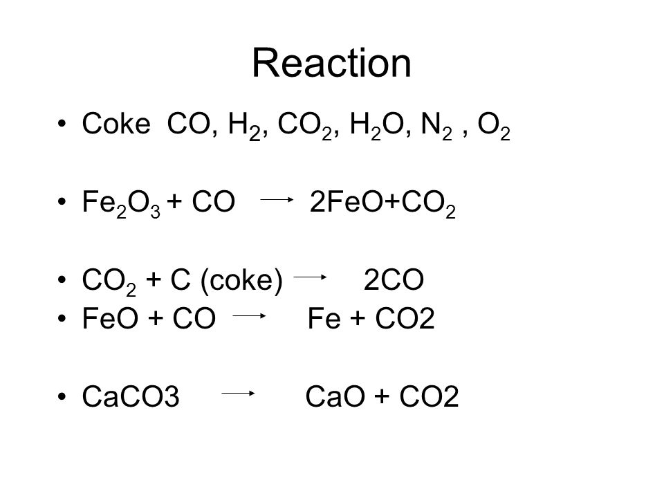 Reaction Coke CO, H2, CO2, H2O, N2 , O2 Fe2O3 + CO 2FeO+CO2