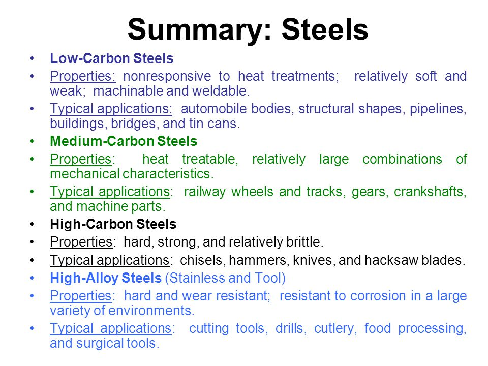 Summary: Steels Low-Carbon Steels