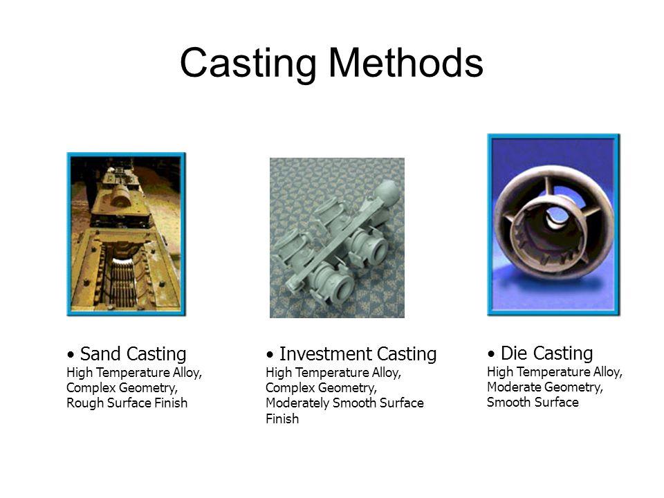 Casting Methods Sand Casting Investment Casting Die Casting