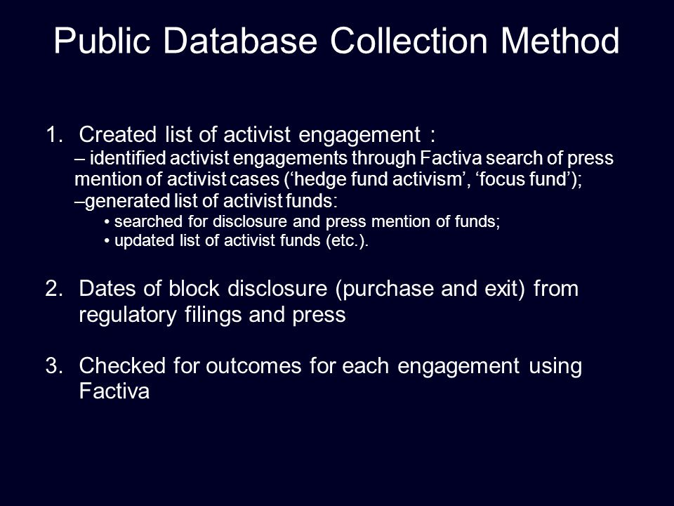 Public Database Collection Method