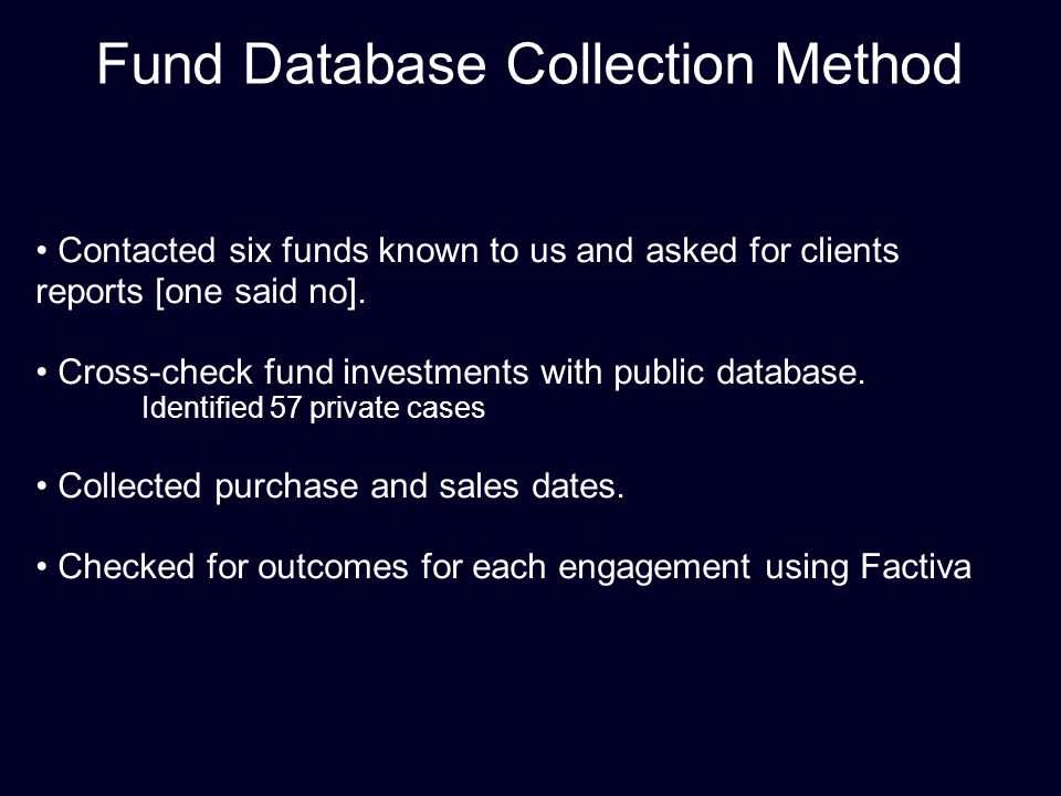 Fund Database Collection Method