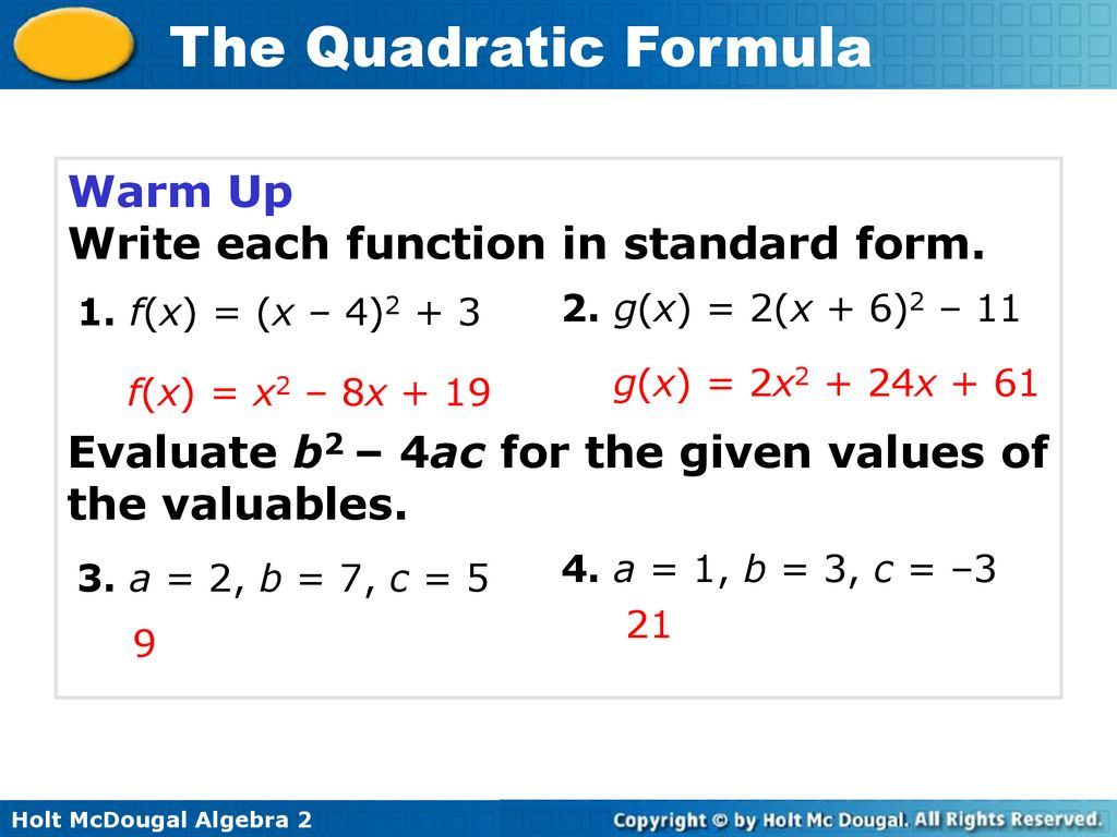 standard form in algebra 2  Write each function in standard form. - ppt download