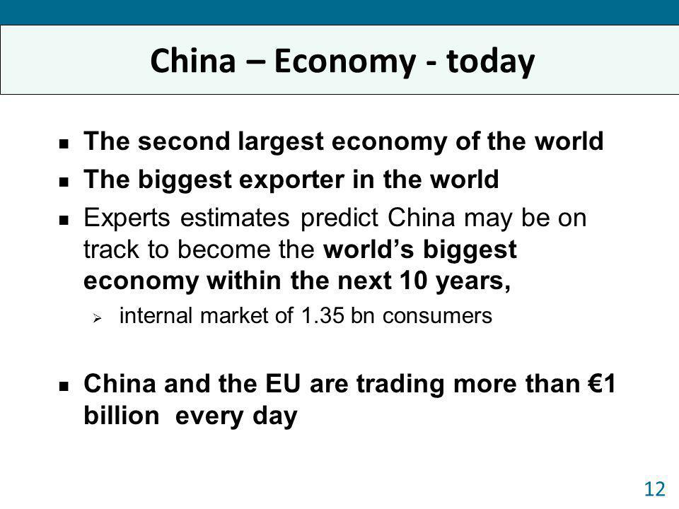 China – Economy - today The second largest economy of the world