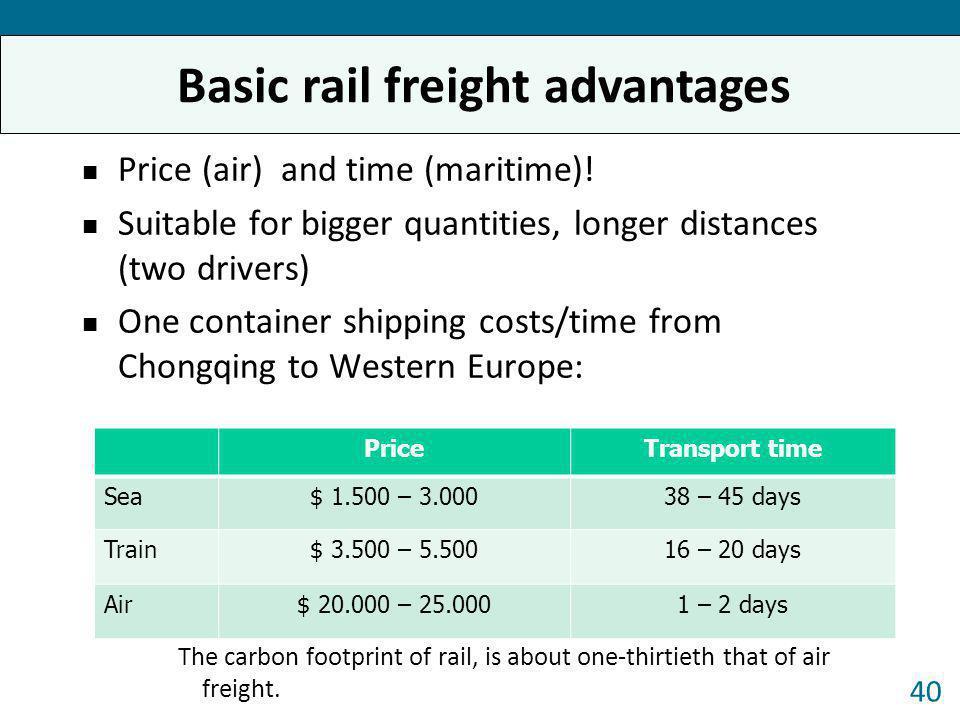 Basic rail freight advantages