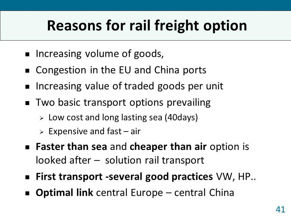Reasons for rail freight option