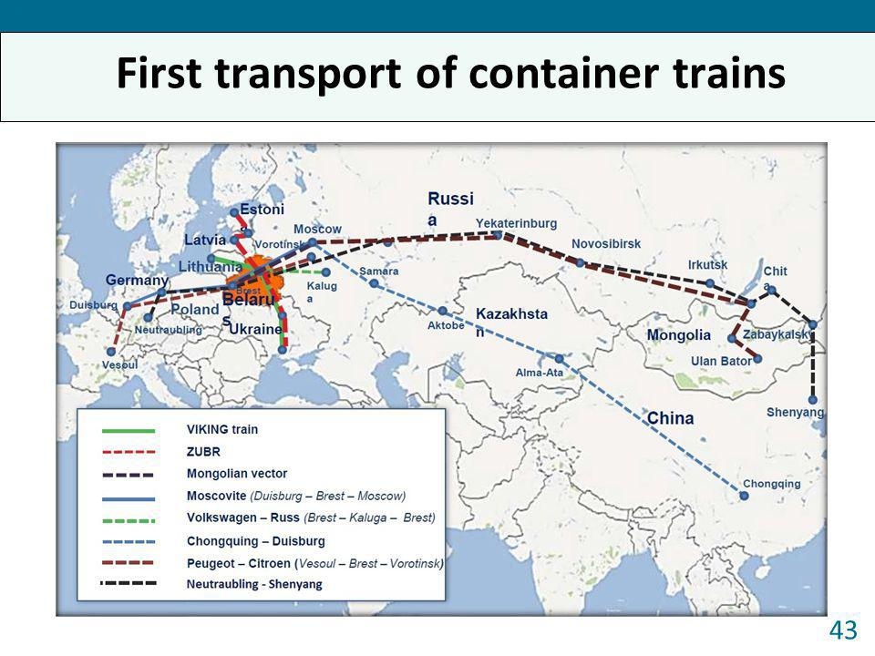 First transport of container trains