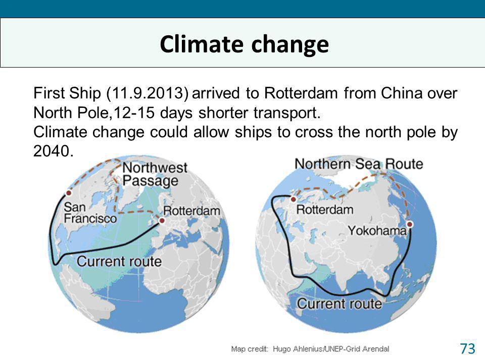 Forum 2013 Climate change. First Ship (11.9.2013) arrived to Rotterdam from China over North Pole,12-15 days shorter transport.