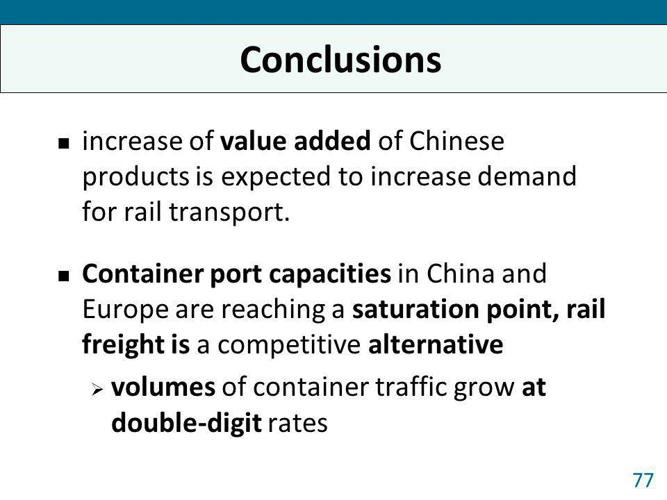 Conclusions increase of value added of Chinese products is expected to increase demand for rail transport.