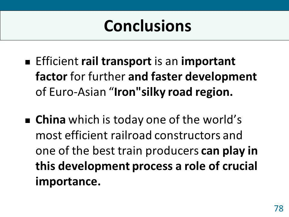Conclusions Efficient rail transport is an important factor for further and faster development of Euro-Asian Iron silky road region.